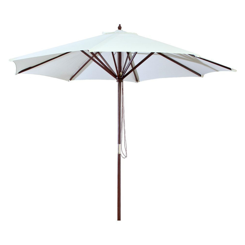 9-Ft Outdoor Patio Market Umbrella with Wood Frame and Khaki Canopy