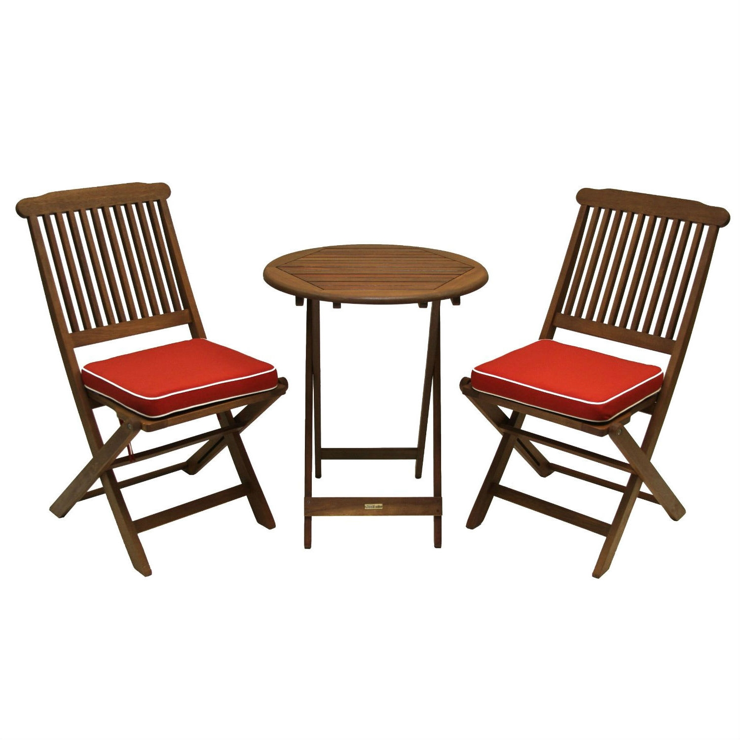 3-Piece Outdoor Patio Furniture Bistro Set with Red Seat Cushions