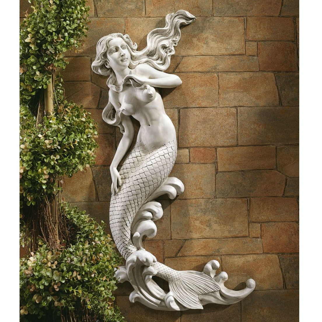 Outdoor Mermaid Wall Statue by Candice Pennington - 31 Inch