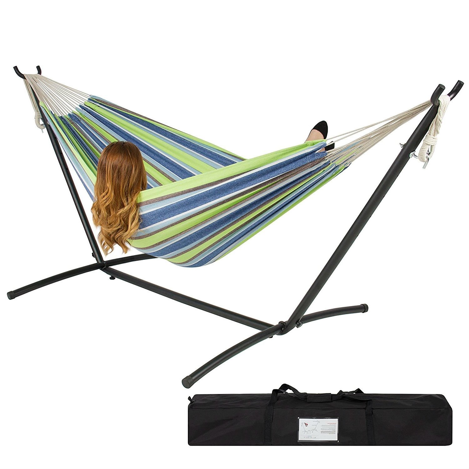 Oasis Blue Green Stripes Hammock with Steel Hammock Stand